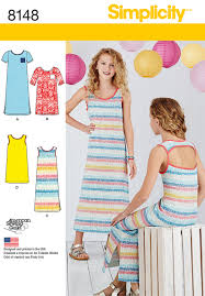 simplicity simplicity pattern 8148 girls u0027 knit dresses each in two