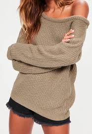 knitted sweater light brown shoulder knitted sweater missguided
