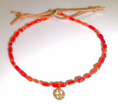 choker necklace with beads images Gold plated pave peace sign coral custom beaded choker necklace jpg
