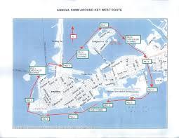 Key West Florida Map by Race Information Swim Around Key West