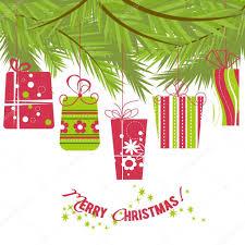 christmas gift boxes hanging over christmas tree u2014 stock vector