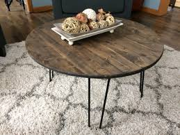 round hairpin coffee table hairpin coffee table round dark stained