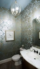 damask metallic wallpaper contemporary bathroom ej interiors