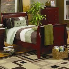 Cherry Wood Sleigh Bed Twin Cherry Sleigh Bed Teak Wood Drawer Dresser Beige Wooden Floor