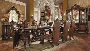 9 dining room set acme versailles 9 pedestal dining set in cherry oak dining