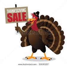 turkey holding thanksgiving sale sign stock vector