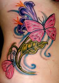 purple flower and pink butterfly tattoos