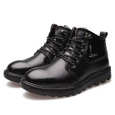 Comfortable Boots For Men New Men Winter Keep Warm Comfortable Plush Cotton High Top Leather