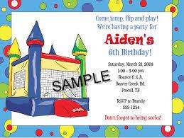 bounce house moonwalk birthday invitations