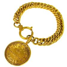 chain link bracelet charms images Chanel vintage gold rue cambon chunky link coin charm evening jpg