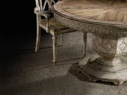 round dining table with carved apron by hooker furniture wolf round dining table