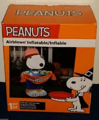 peanuts airblown inflatables airblown 3 5ft thanksgiving peanuts snoopy scarecrow