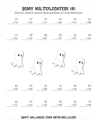 Halloween Math Printables Scary Multiplication 2 Digit By 2 Digit A