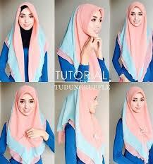 tutorial jilbab dua jilbab memakai hijab menutup dada modern dua warna