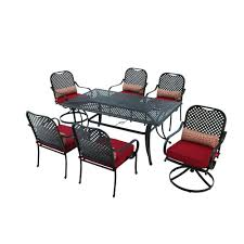 7pc Patio Dining Set Hton Bay Fall River 7 Patio Dining Set With Chili Cushion