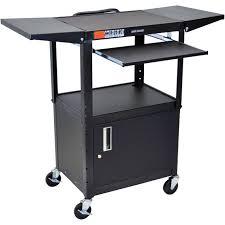 Computer Desk Adjustable Height by Luxor Adjustable Height Steel A V Cart With Keyboard Avj42kbcdl