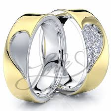 wedding rings his and hers solid 014 carat 6mm matching heart design his and hers diamond