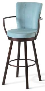 Upholstered Bar Stools With Backs Cardin Swivel Stool W Wrap Arms And High Upholstered Back Extra
