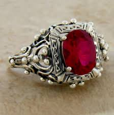 ruby sterling rings images Antique victorian design red lab ruby 925 sterling silver ring jpg