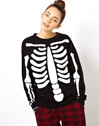 Glow In The Dark Halloween Shirts by Black Long Sleeve Skeleton Print Sweatshirt Sheinside Com