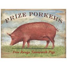prize porkers pigs wood look metal sign kitchen decor