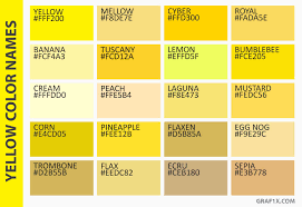 colors yellow list of colors with color names graf1x com