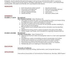 sample medical receptionist resume good receptionist resume