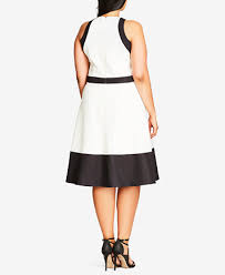 chic dress city chic trendy plus size colorblocked fit flare dress