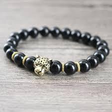 black onyx charm bracelet images Black onyx golden panther bracelet mens wristband womens bangle jpg