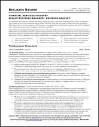 Resume For Entry Level Jobs by Financial Services Industry Senior Business Manager Business