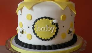 yellow black white bumble bee baby shower cake cakecentral com