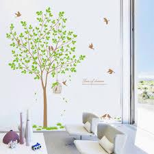 online get cheap green livingroom aliexpress com alibaba group 167x180cm tree green flower birds plum wall sticke