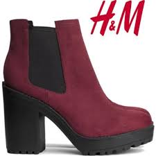 womens boots h m maroon ankle boot by h m h m s boots and flats http