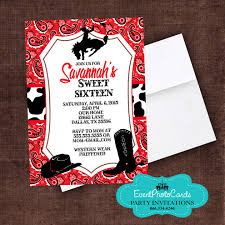 bandanna cowgirl western sweet sixteen invitations sweet 16th