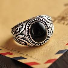 aliexpress buy mens rings black precious stones real real 925 sterling silver jewelry vintage rings for men engraved