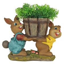 Animal Pots Buy 2 Rabbits Holding Pots With Flower Gift Item Home Decor