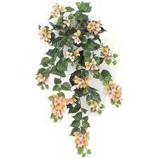 Bougainvillea Topiary - 36 in artificial peach pink cream bougainvillea bush ef 1021