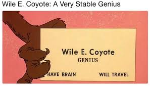 Wile E Coyote Meme - wile e coyote a very stable genius very stable genius know