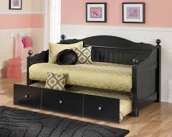 Black Daybed With Trundle Furniture Jaidyn Black Day Bed With Trundle Panel The