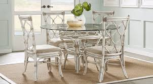 5 pc round pedestal dining table cindy crawford home shorecrest white 48 in 5 pc round dining set