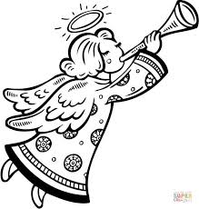 christmas angel blows horn coloring free printable