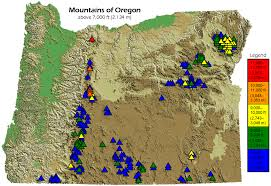 map of oregon 2 list of mountains of oregon