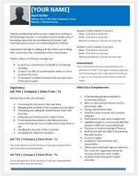 Core Competencies On Resume Stock Broker Resume Templates For Ms Word Resume Templates