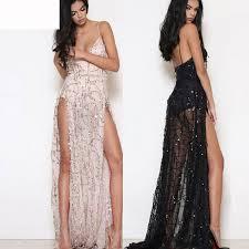 sequin dresses pink black lurex sequins floor length gown backless side slit