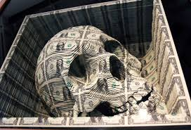 scott campbell carves skull out of 11 000 of us currency