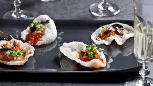 canapes with prawns prawn crackers with salmon roe nashi and roasted chilli recipe