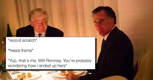 Mitt Romney Memes - the awkward photo of donald trump and mitt romney having dinner is