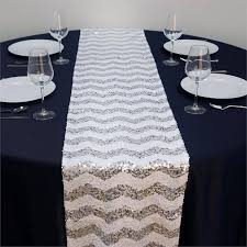 alluring sequin chevron table runners silver white efavormart