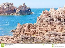 Brittany France Map Famous Pink Granite Rocks In Brittany France Royalty Free Stock