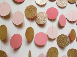blush pink coral and gold glitter circle garland paper dot